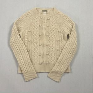 J Crew Popcorn Cable Knit White/Cream Wool Sweater